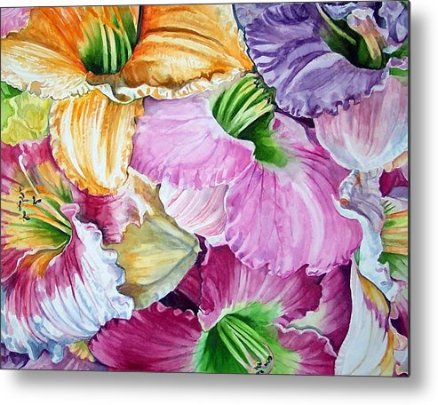 Lillies Metal Print featuring the print Daylillies by Bette Gray