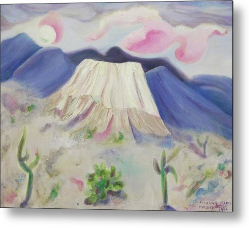 Desert Metal Print featuring the painting Desert Cactus Pink And Purple by Suzanne Marie Leclair
