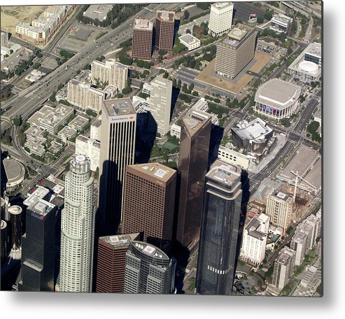 Downtown Metal Print featuring the photograph Downtown Los Angeles From Above by Helaine Cummins