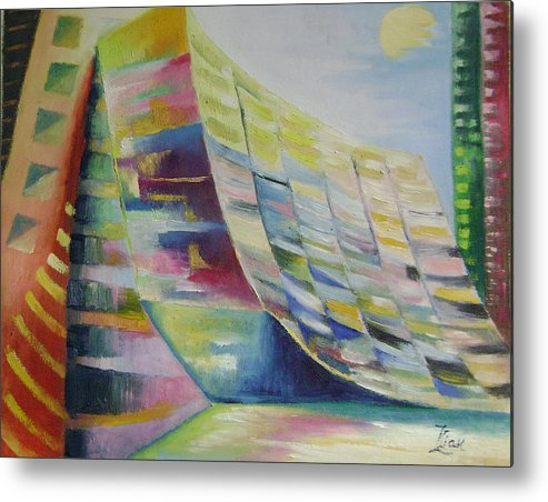 Abstract Metal Print featuring the painting Dream City No.6 by Lian Zhen