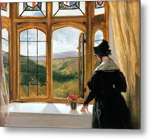 Duchess Of Abercornduchess Of Abercorn Looking Out Of A Window By Sir Edwin Landseer (1802-73) Metal Print featuring the painting Duchess Of Abercorn Looking Out Of A Window by Sir Edwin Landseer