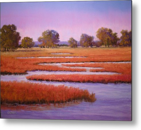Pastel Metal Print featuring the painting Eastern Shore Marsh by Paula Ann Ford
