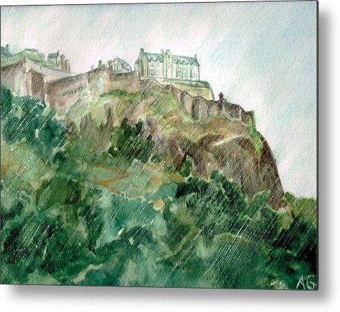 Castle Metal Print featuring the painting Edinburgh Castle by Andrew Gillette