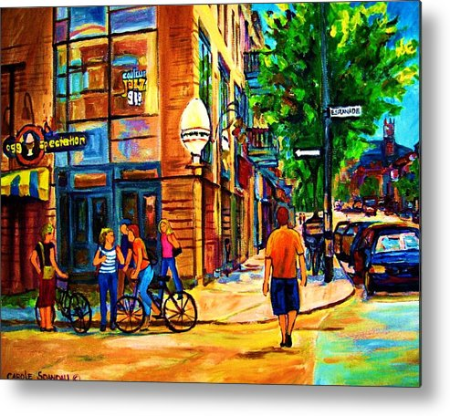 Eggspectation Cafe On Esplanade Metal Print featuring the painting Eggspectation Cafe On Esplanade by Carole Spandau