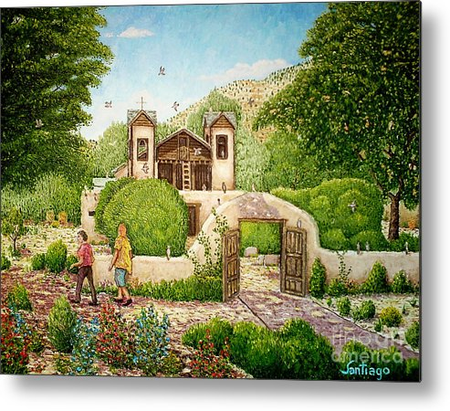 Chimayo Churches Metal Print featuring the painting El Santuario De Chimayo by Santiago Chavez