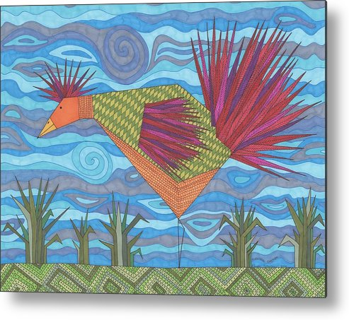 Chickens Metal Print featuring the drawing Electric Chicken by Pamela Schiermeyer