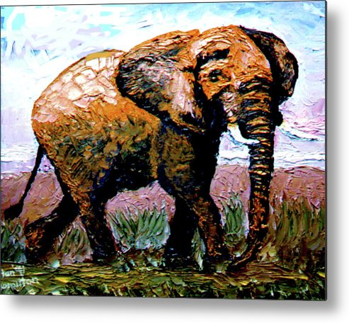 Elephant Metal Print featuring the painting Elephant by Stan Hamilton