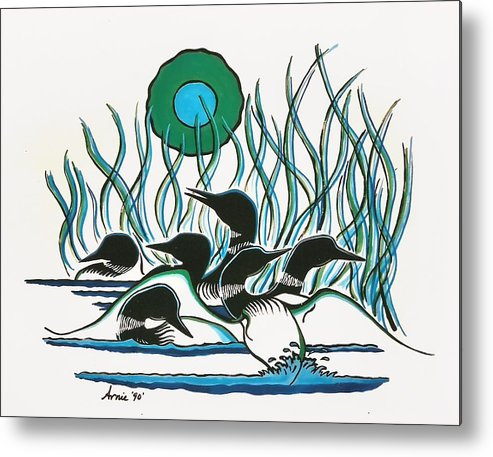 Nature Metal Print featuring the painting Family Of Loons by Arnold Isbister