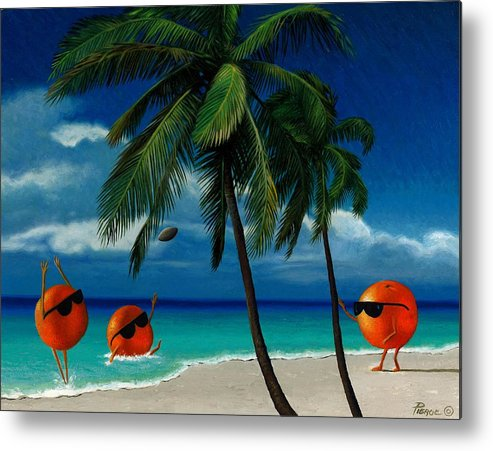 Oranges Painting Palm Trees Ocean Blue Sky Sunglasses Football Fantasy Metal Print featuring the painting Fantasy-oranges Playing Football by Daniel Pierce