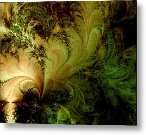 Feather Metal Print featuring the digital art Feathery Fantasy by Casey Kotas