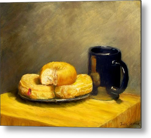 Still Life Metal Print featuring the painting First Call...breakfast by Jack Skinner