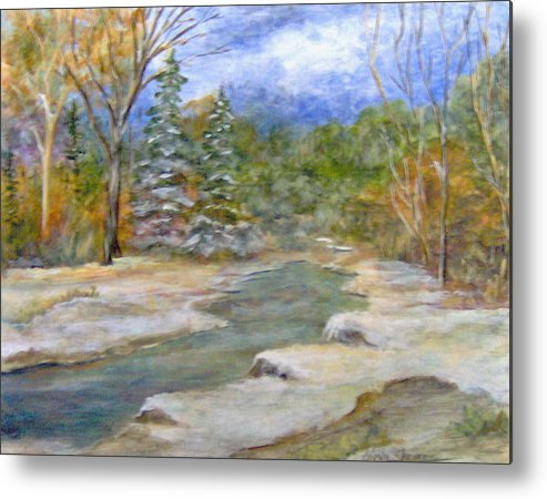 Landscape Metal Print featuring the painting First Snow Of Winter by Lorna Skeie