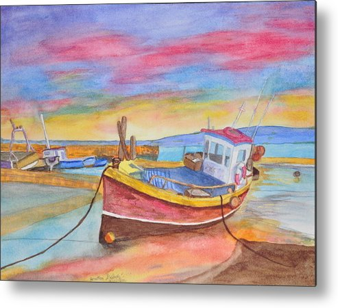 Boat Metal Print featuring the painting Fishing Boat At Low Tide by Jonathan Galente