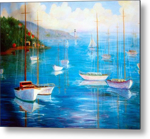 White Fishing Boats Metal Print featuring the painting Fishing Port by Jeanene Stein