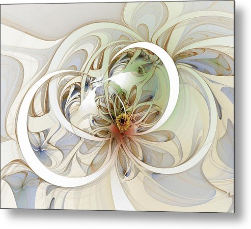 Digital Art Metal Print featuring the digital art Floral Swirls by Amanda Moore