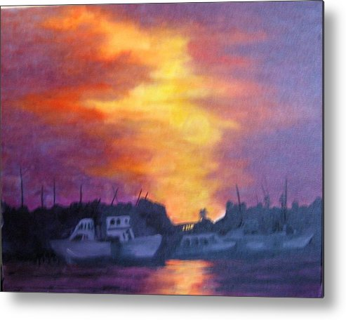 Sunset Metal Print featuring the painting Florida Keyes Sunset by Colleen DalCanton