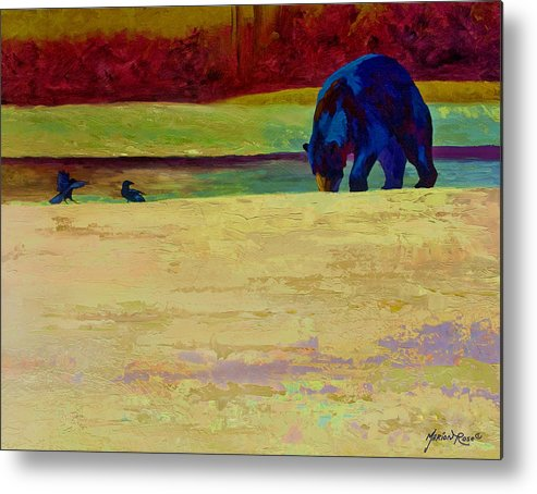 Bear Metal Print featuring the painting Foraging At Neets Bay - Black Bear by Marion Rose