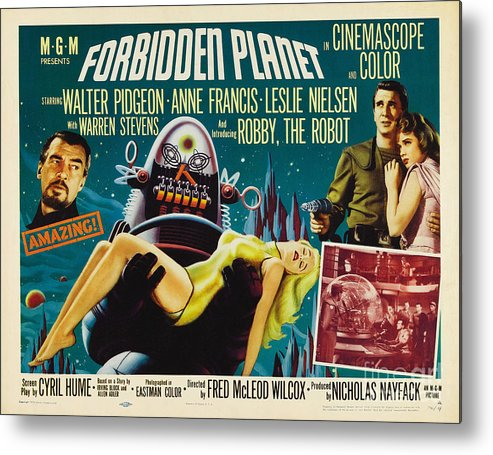 Forbidden Planet Metal Print featuring the painting Forbidden Planet In Cinemascope Retro Classic Movie Poster by R Muirhead Art