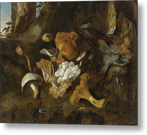 Otto Marseus Van Schrieck Metal Print featuring the painting Forest Floor Still Lifes With Mushrooms Butterflies And A Snake by Otto Marseus van Schrieck
