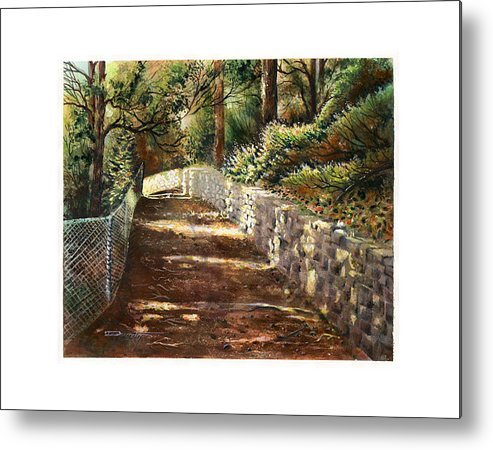 Landscape Metal Print featuring the painting Forest Path White Cliff by Dumitru Barliga