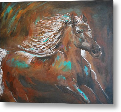 Horse Abstract Canvas Prints Metal Print featuring the painting Freedom Run by Leslie Allen