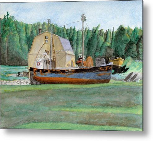Fishing Boat Metal Print featuring the painting Freeport Fishing Boat by Dominic White
