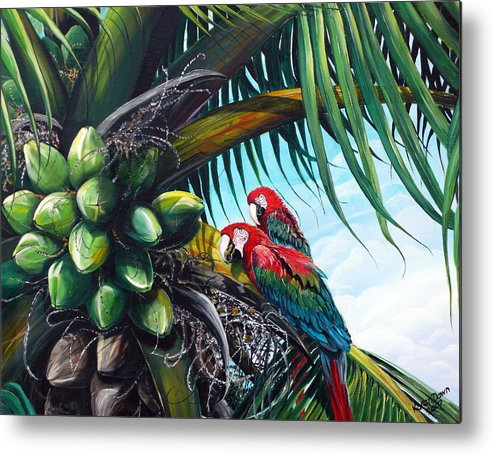 Macaws Bird Painting Coconut Palm Tree Painting Parrots Caribbean Painting Tropical Painting Coconuts Painting Palm Tree Greeting Card Painting Metal Print featuring the painting Friends Of A Feather by Karin Dawn Kelshall- Best