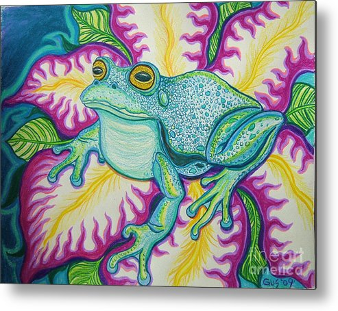 Frog And Flower Art Metal Print featuring the drawing Frog And Flower by Nick Gustafson