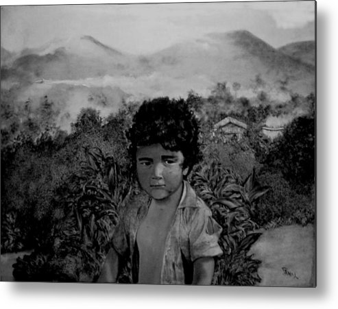 Boy Metal Print featuring the painting Fumigando Al Nino by Fernando Armel