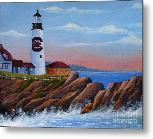 Gamecocks Metal Print featuring the painting Gamecock Lighthouse by Jerry Walker