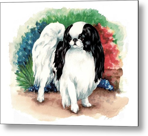Japanese Chin Metal Print featuring the painting Garden Chin by Kathleen Sepulveda