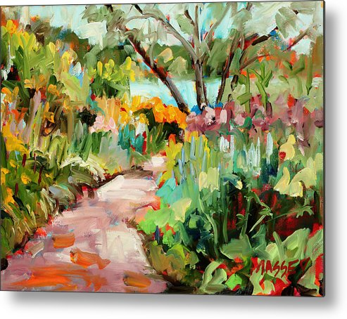 Plein Air Metal Print featuring the painting Garden Path by Marie Massey