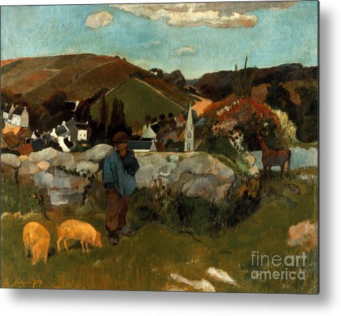 1888 Metal Print featuring the photograph Gauguin: Swineherd, 1888 by Granger