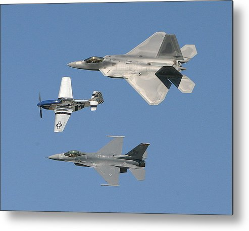 F-22 Metal Print featuring the photograph Generations by Donald Tusa