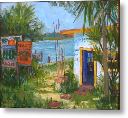 Seascape Metal Print featuring the painting Genung Fish Camp by Pamela Geiger