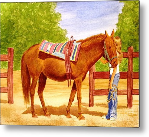 Equine Metal Print featuring the painting Girl Talk by Stacy C Bottoms