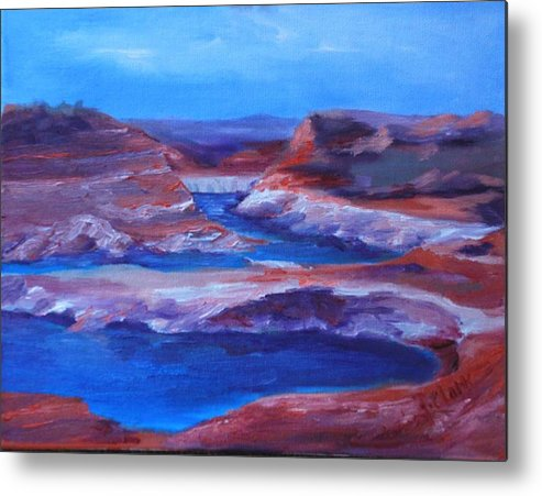 Seascape Metal Print featuring the painting Glen Canyon Dam Arizona by Donna Pierce-Clark