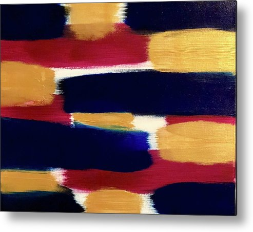 Abstract Metal Print featuring the painting Gold Blue by Marcus Mabry