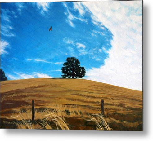 Golden Hills Metal Print featuring the painting Golden Hills Summer Sky by Jill Iversen