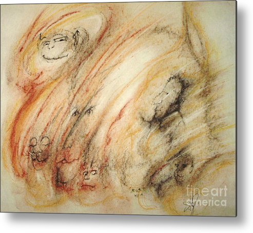 Surreal Metal Print featuring the drawing Gollum Is Watching by Stephanie H Johnson