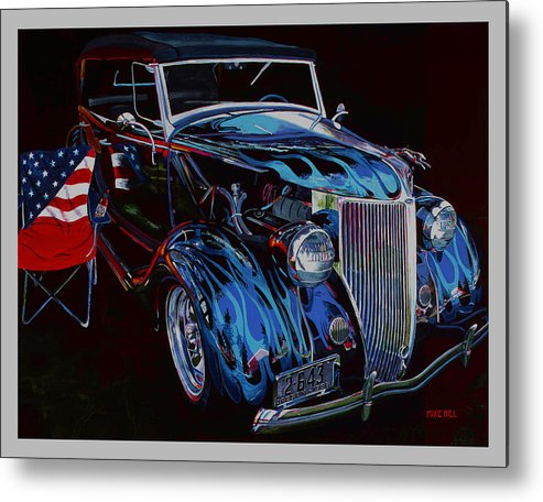 1936 Ford Phaeton Car Automobile Flame Paint American Flag Beer Iraq Hot Rod Roadster Blue Black V8 Metal Print featuring the painting Gone To Iraq by Mike Hill