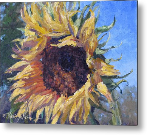 Sunflower Landscape Metal Print featuring the painting Good Mornin by L Diane Johnson