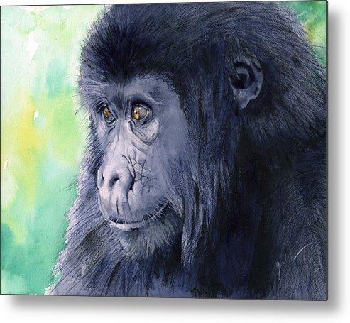 Gorilla Metal Print featuring the painting Gorilla by Galen Hazelhofer
