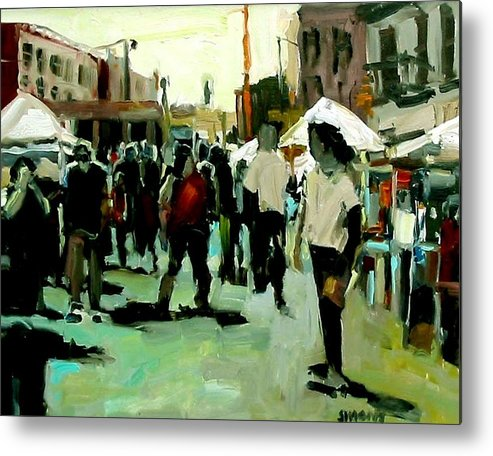 Cityscape Paintings Metal Print featuring the painting Government Street by Brian Simons