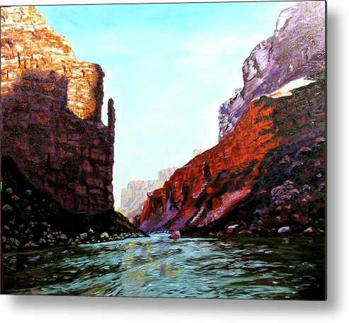 Original Oil On Canvas Metal Print featuring the painting Grand Canyon Iv by Stan Hamilton