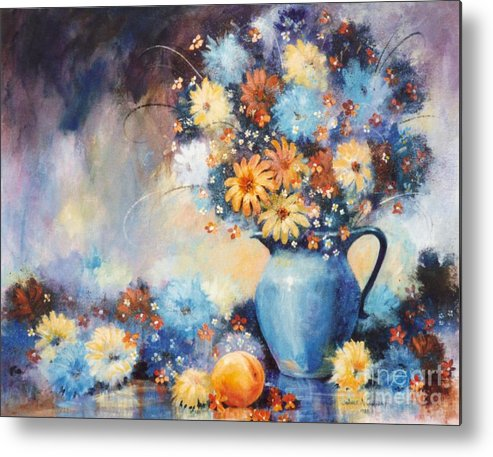 Blue Metal Print featuring the painting Grandmas Blue Pitcher by JoAnne Corpany