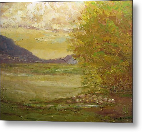 Landscape Metal Print featuring the painting Grazing Sheep New Mexico Usa by Belinda Consten