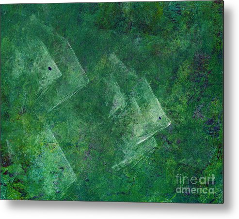 A School Of Fish In Green Water- Monotype Print Metal Print featuring the painting Green Water by Mui-Joo Wee