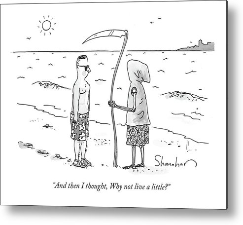 Death Metal Print featuring the drawing Grim Reaper Wearing A Swimsuit At The Beach. by Danny Shanahan