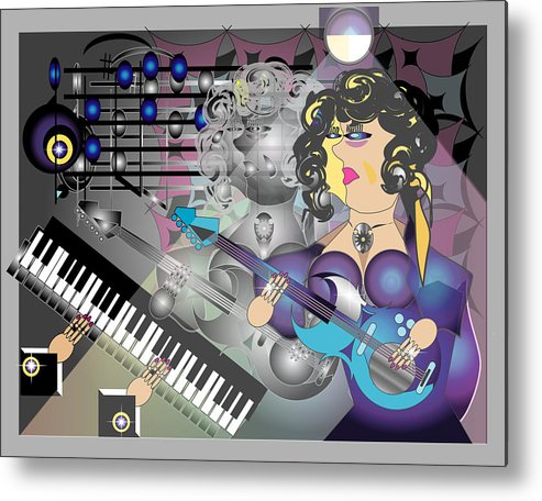 Music Metal Print featuring the digital art Guitar Lady by George Pasini